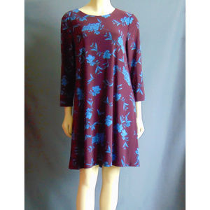 Ralph Lauren NWT  Plum Blue Floral Swing Dress 12
